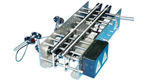 "Created for use with boxes, cans and bottles in dry or wet environments, the ""R"" series checkweigher is sturdily built and features a chain conveyor mechanism that achieves the required degree of accuracy at high speed."